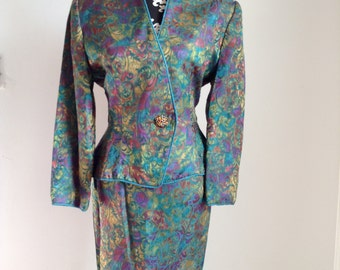 Vintage Pilar Rossi Two-Piece Women's Suit with Ikat Design