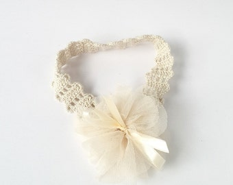 Lace crochet stretch headband with tulle flower and satin ribbon