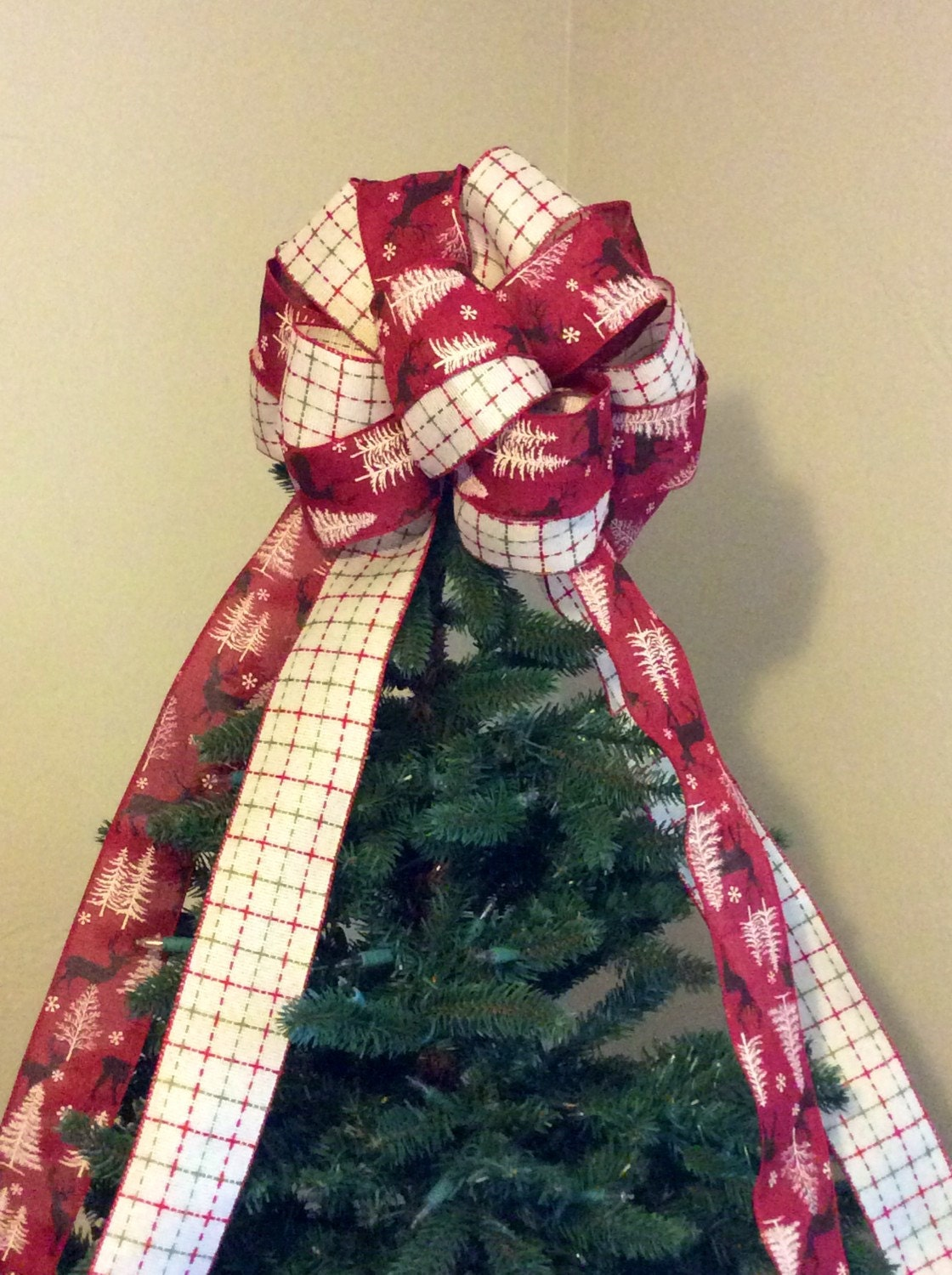 christmas tree topper bow rustic red by custombowsbyjami on etsy. Black Bedroom Furniture Sets. Home Design Ideas