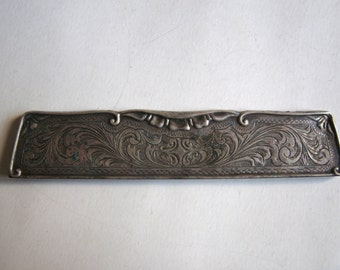 antique 800 silver engraved hair comb cover or holder
