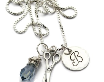 Hair Stylist Necklace, Cosmetology, Personalized Necklace, Sterling, Scissors Charm, Initial Necklace, Beauty School, Hairdresser