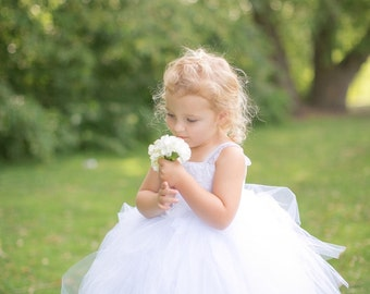 Lace & Tulle Tutu Floor Length Flower Girl Dress - A Toddler or Child Dress, Pageant, Baptism  - The Kelly-Lynn Dress