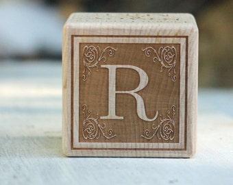 2 inch Medium Wooden Baby Block with Custom Engraving