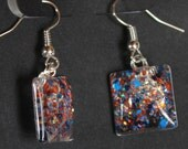 orange and royal blue, broncos, gators, bears colors, dangle sparkly glitter earrings, Offensive Line, Team Spirit