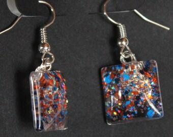 orange and royal blue, broncos, gators, bears colors, dangle sparkly glitter earrings, Offensive Line, Team Spirit