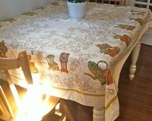 Vintage 1970s Kitschy Rectangular Tablecloth