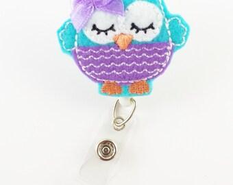 Turquoise Sleepy Owl - Felt Badge Reel - Nurse Badge Holder - RN Badge Reel - Retractable ID Badge - Cute Badge Reels - Peds Badge Clip