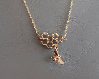 Gold Honeycomb and Bee Necklace -  Gift for Her