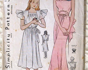 Vintage 30s Bridesmaid Dress w Ruffled Neckline. Simplicity Sewing Pattern 1610.  Size 16