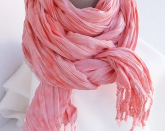 """Coral pink crinkle scarf - rayon scarf - crinkle scarf - spring scarf - fringe scarf - coral, pink, peach, blush -  hand dyed - 20"""" x 70"""""""