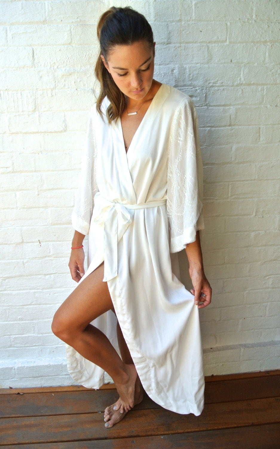 Bridal Robe Luxurious Chantilly Lace Sleeve Off White Long