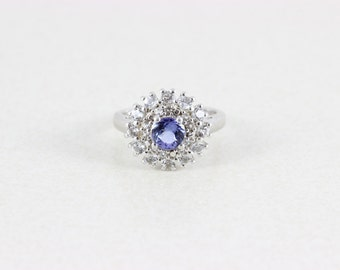 Sterling Silver Tanzanite and White Topaz Halo Ring Size 7
