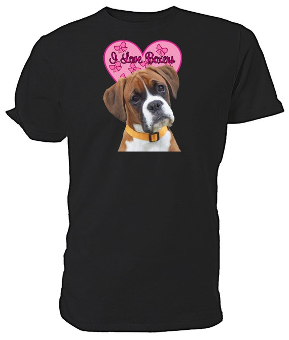I Love Boxer Dogs T shirt. classic round neck short sleeved choice of sizes and colours
