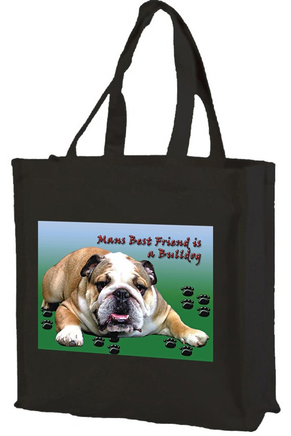 British Bulldog Cotton Shopping Bag with gusset and long handles, 3 colour options
