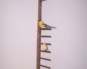 Folk Art hand carved and painted Gold Finches