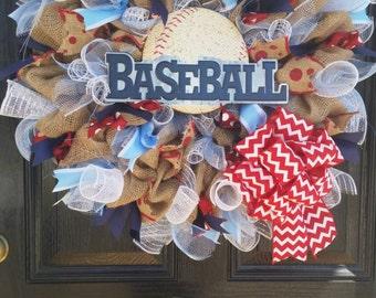Large Burlap Baseball Wreath Spring Summer Mothers Day Easter Boys Room Baby Nursery Decor Americana Red White Blue Mesh Ribbon Bow