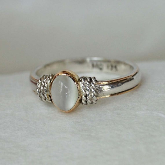 Bohamian Engagement Ring Silver 925 Gold 18k Moonstone