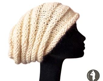 Baby Alpaca Women Knit hat / Slouch Beanie Hat / Womens Hat