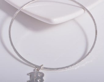 Sterling Silver Square hammered 18th birthday charm 925 silver stacking bangle