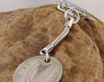 1963 Old Shilling Scilling Irish Coin Keyring Key Chain Fob 54th Birthday