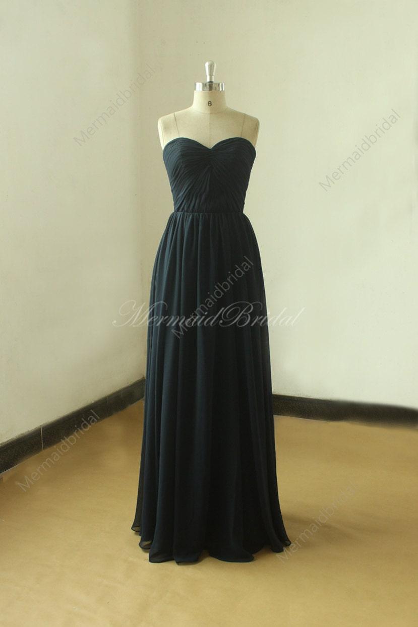 Blue Wedding Dress Simple : Simple strapless navy blue bridesmaid dress prom