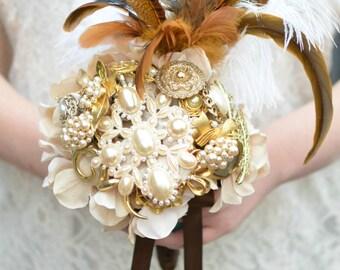 Rustic Brooch Bouquet, Ivory Brooch Bouquet, Pearl Brooch Bouquet, Vintage Brooch Bouquet,Heirloom Bouquet,Weddings,Accessories,Fall Bouquet