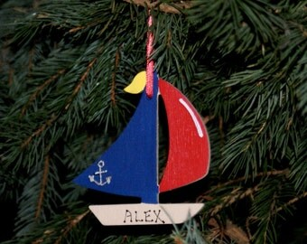 Personalized Ornament, SAILBOAT Red & Blue Sails. Hand Personalized, Christmas Ornament. Kid's Ornament. Nautical Ornament, Christmas Gift.