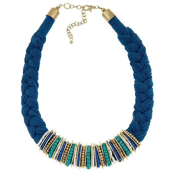 Braided blue necklace, statement necklace, thread necklace with metallic tubes and beads