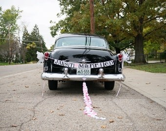 Just Married Banner / Wedding Garland / Getaway Car Sign / Rustic / Wedding Couple Photo Prop/ Wedding Reception Decoration