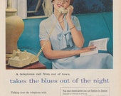 """1950s Bell Telephone System Ad """"takes the blues out of the night"""" Vintage Advertising Retro Woman Photo Print, Wall Art Decor"""