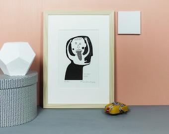 My Inner Child | Linoldruck, Linolschnitt, Grafik, Druck, Print, Druckgrafik, Original, limitiert, Kind, Kopf, Kindskopf, schwarz, A5