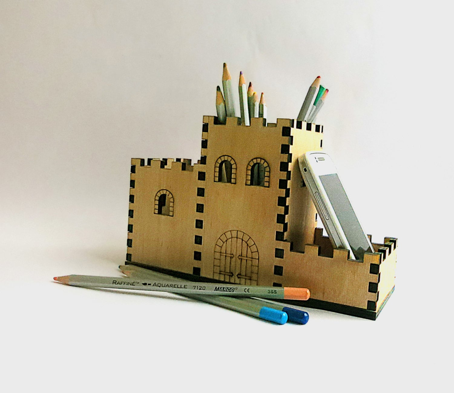 Unique Pen Holder Wooden Pencil Holder Amp Phone Holder Small Castle By Oladiclock