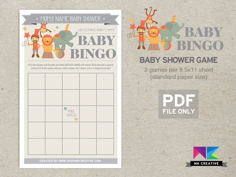 circus baby shower circus theme baby bingo by shopmkcreative
