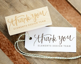 Handwritten Personalized Thank You Rubber Stamp, With or Without Names and Date