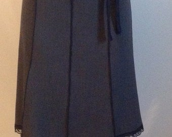 Gray Skirt With Attached Velvet trim waist Bow Tied To Side And Lace Hem