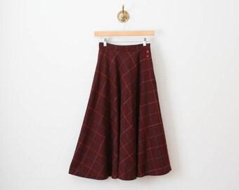 70s maroon plaid wool skirt