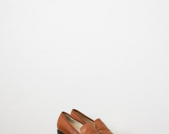 70s camel leather high loafers