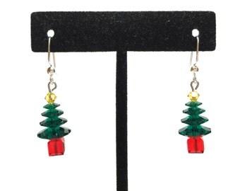 Handmade Christmas Tree Swarovski Crystal Dangle Earrings with Gift Box