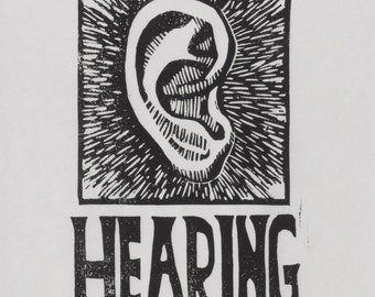H is for Hearing, limited edition linocut print from the Alport Syndrome alphabet series