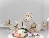 Personalised Rustic Wedding Cake Topper, Bird Cake Topper - Rustic Cake Topper, Wooden Cake Topper