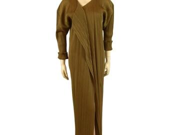Vintage Issey Miyake Micro Pleated Bronze Evening Coat 1992