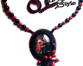 Bead Embroidery Necklace Pendant Red Coral and Black Onyx, Beadwork Embroidery Necklace, Beaded Necklace ARGENTINE TANGO, Bead Jewelry