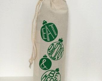 Holiday Wine Tote, Wine Gift Bag, Wine Tote Bag, Christmas, Holiday