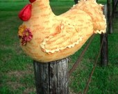 Autumn Chicken doorstop doll made to order -  with fall flowers - quilted wings and tail, lifelike comb and wattle, bright yellow gem eyes