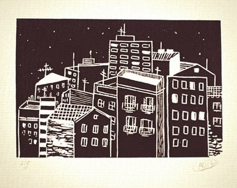city at night- black and white. linocut print. Original design. Limited edition