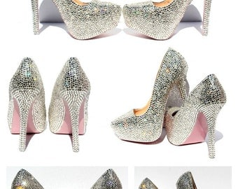 Swarovski Crystal Heels with hand painted soles in the color of your choice