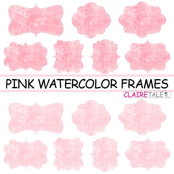 "Pink clipart labels: ""PINK WATERCOLOR FRAMES"" pink clipart frames, labels, tags on water-colour pink background"