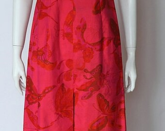 SALE! 1960ies Vintage Cheongsam Qipao Suzie Wong Style Showstopper electric pink butterfly decoration summer party evening dress, ca. size S