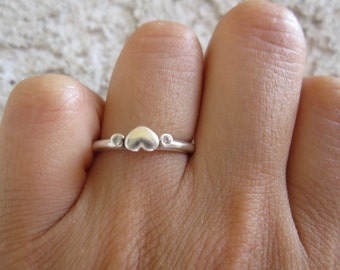 Sterling and CZ Heart Stacking Ring, Size 6