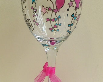 Personalised Birthday Wine Glass With Balloon Design 18 21 30 40 50 60 70 Any Age hand painted by Luci Lu Designs